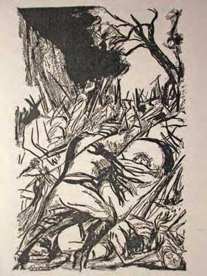 """Orozco, """"La batalla"""" IlustraciA?n para The Underdogs, 1929"""