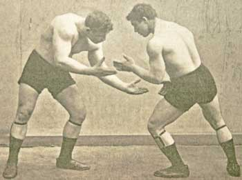 Luchadores en posiciA?n de guardia, 1905
