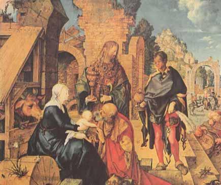 Los Reyes Magos visitan al niAi??o JesA?s
