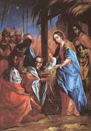 Los Reyes Magos visitan al niño Jesús