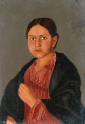 Retrato de una dama con tA?palo, s.f., MUNAL