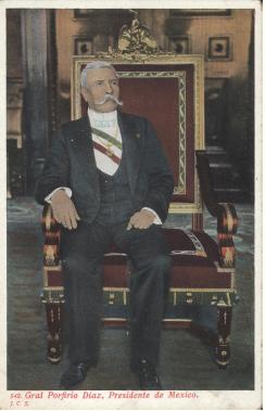 Retrato del general Porfirio DAi??az sentado en la silla presidencial, MAi??xico, principios del siglo XX, Col. de postales de la UACJ