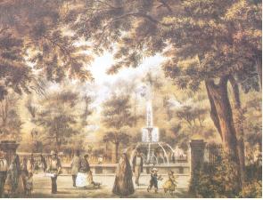 """Casimiro Castro, """"Interior de la Alameda de México, México y sus alrededores, México, Decaen, 1864."""