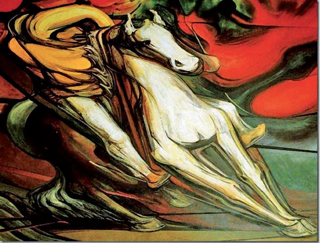 """David Alfaro Siqueiros, """"Revolucionarios a caballo"""" (fragmento)"""