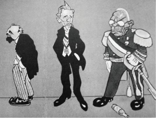 Caricatura de Madero, Pino SuA?rez y Huerta
