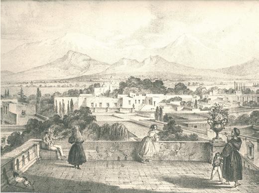C. Nebel, Vista de los volcanes desde Tacubaja, Viaje pintoresco y arqueolA?gico... 1829-1834, MAi??xico, 1840