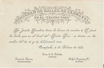Invitaciones de la Sociedad de Bailes de Carnaval del Teatro Toro. Col. Manuel Herrera Baquiero