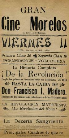 Anuncio Gran Cine Morelos, De la revoluciA?n hasta la caAi??da de Madero en ARCHIVO HISTAi??RICO DEL DISTRITO FEDERAL (AHDF), Carlos de SigA?enza y GA?ngora