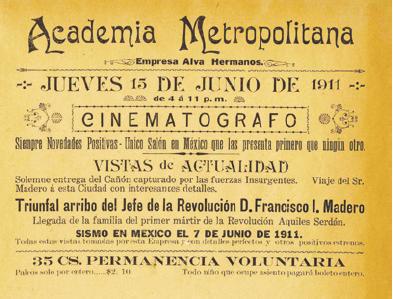 Anuncio Cine Academia sobre Francisco I. Madero 1911, en AHDF, Carlos de SigA?enza y GA?ngora