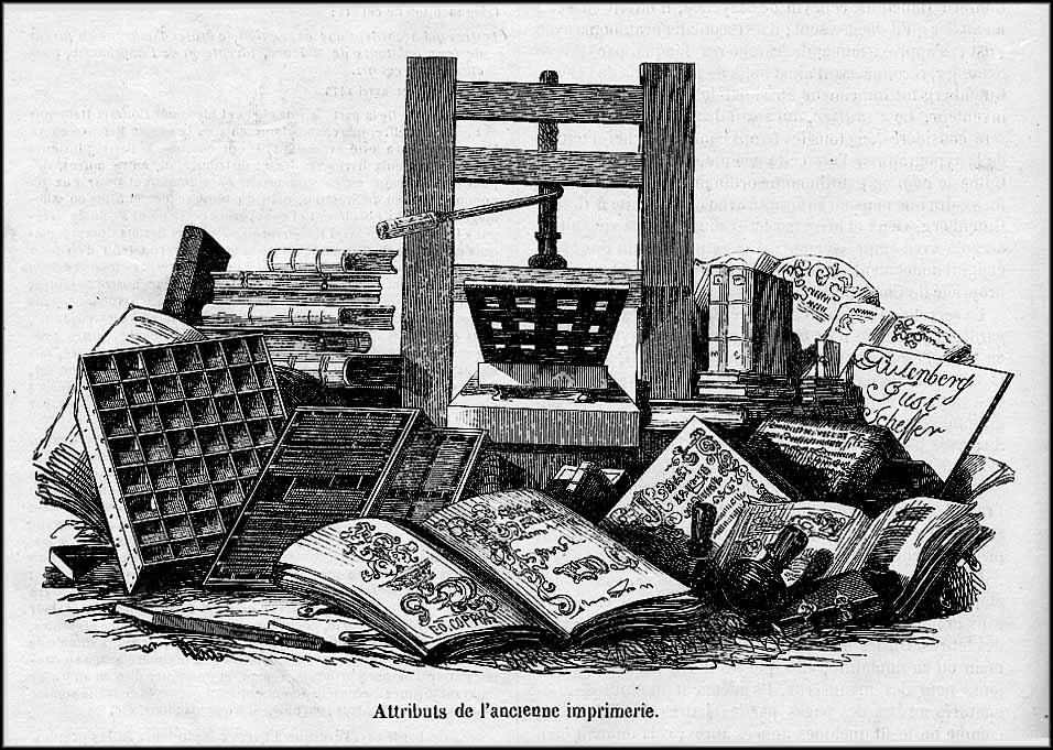 Atributos de imprenta antigua.