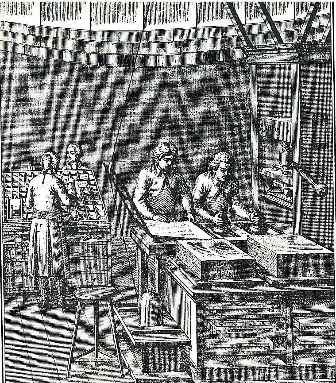 [6] Taller de imprenta de finales del siglo XVII. Col. RAA.