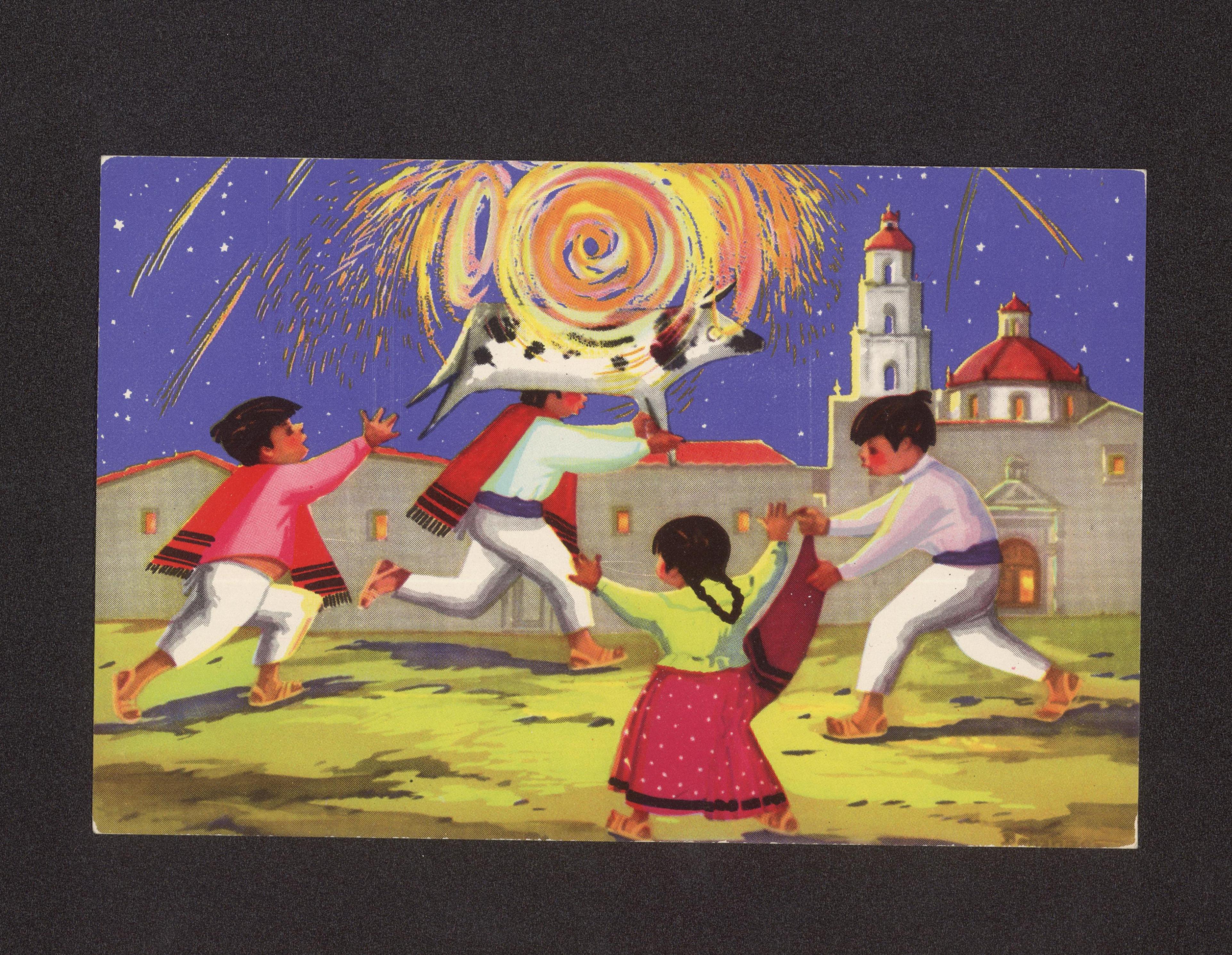 [26] Fuegos artificiales. Colección de Postales de la UACJ.