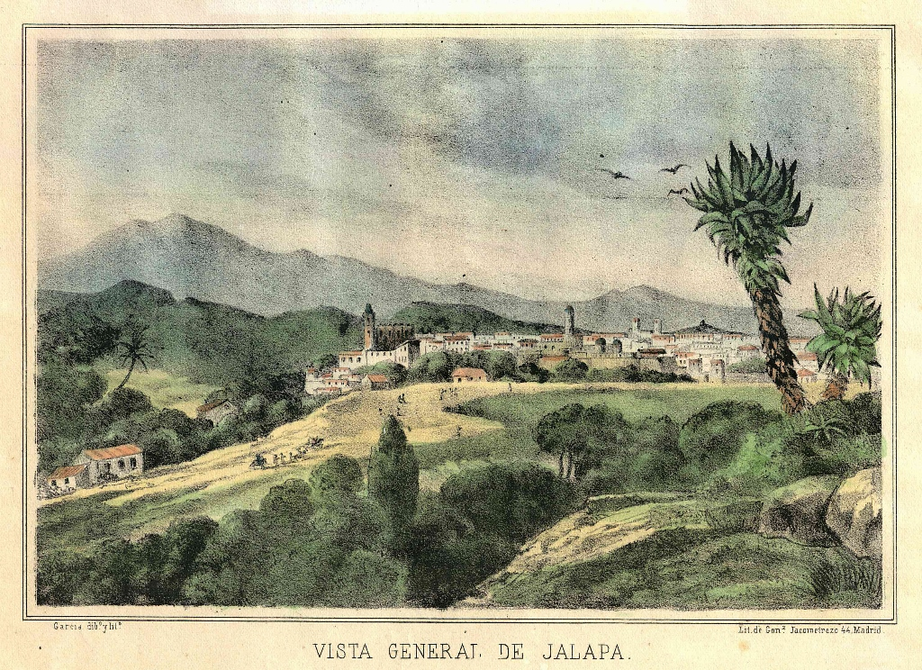 GarcAi??a dibujo y litografAi??o Vista gneral de Jalapa Litografia de GonzA?lez ca 1867 col. RamA?n Aureliano bis (1024x744)