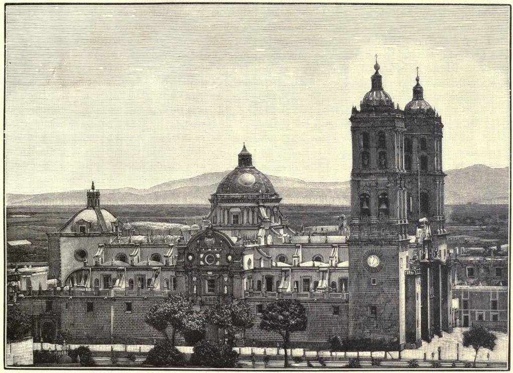 R. 727. Puebla, vista de la catedral, MAi??xico a travAi??s de los siglos, t. 3 (2)