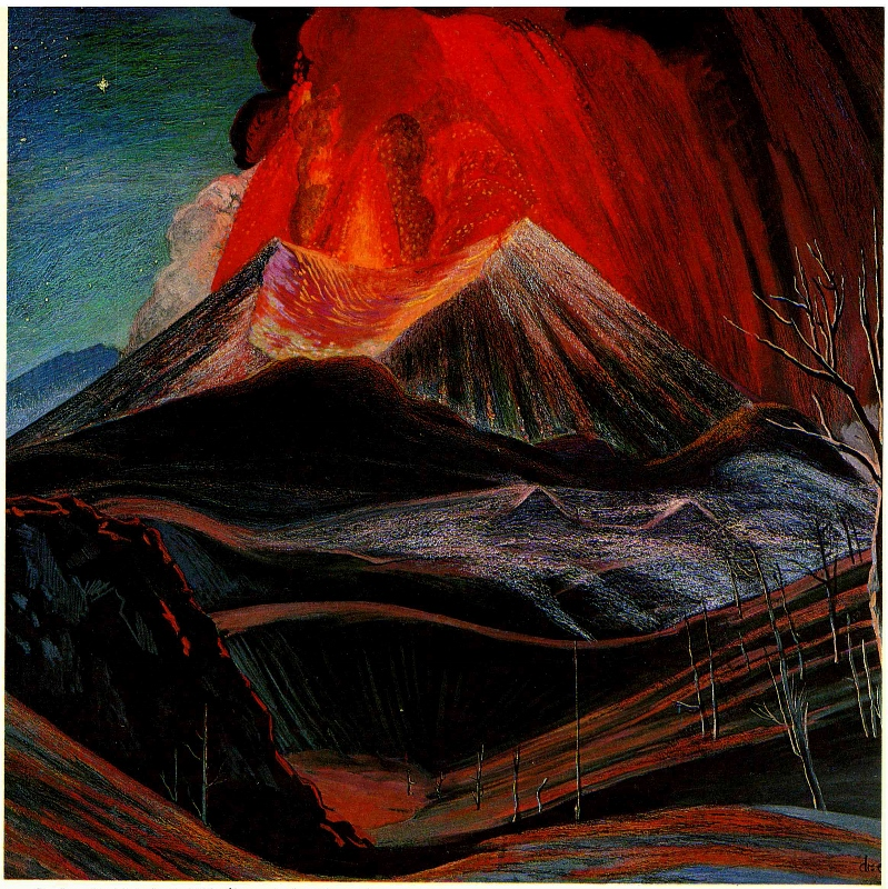 R. Dr. Atl Erupción del Paricutín, 1943.Óleo y atlcolor, col. Munal-INBA (799x800)