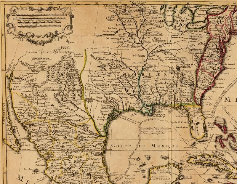 Mapa de Nueva EspaAi??a en 1722, se logra ver el territorio de la Nueva Vizcaya, actualmente el estado de Durango. Guillaume de Lisle, Mexique, Floride, Terres Angloises, Isles Antilles, A?msterdam, Covens & Mortier, 1730.