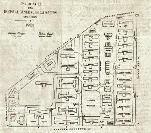 Plano del Hospital General de MAi??xico, 1901 (800x704)
