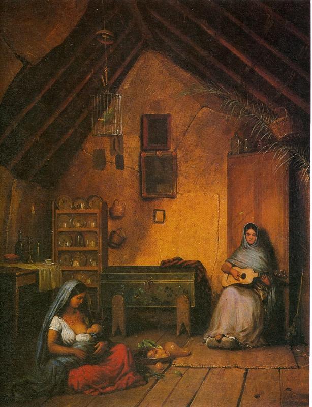 Pingret Eduard, Mujeres poblanas en el interior de un jacal, sf. Col. Museo Nacional de Historia (614x800)