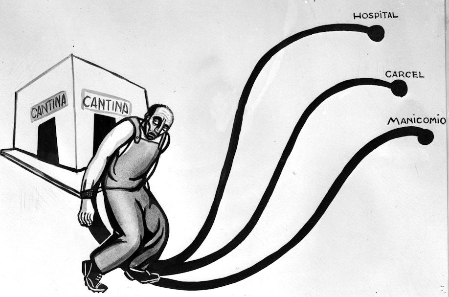 """""""Caricatura de los caminos negativos después de salir de una cantina"""","""