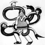 """Imagen 7.  """"Caricatura de un hombre y enfermedades"""""""