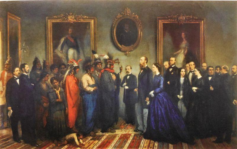 Visita de la embajada de indios kikapúes al emperador Maximiliano, ca. 1865, óleo sobre tela, copia del original de Jean Adolphe Beaucé. Museo Nacional de Historia, Secretaría de Cultura-INAH-MéX. Reproducción autorizada por el INAH.