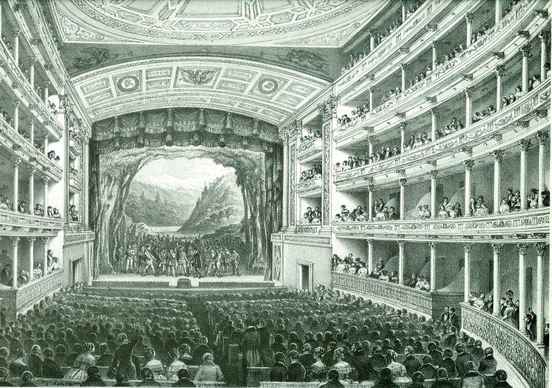 Interior del Teatro Nacional de México, en Julio Michaud y Thomas, Álbum pintoresco de la República Mexicana, México, Antigua Casa de Correo, 1850. Colección Particular.