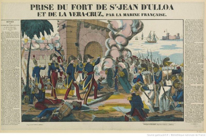 Prise du Fort de St Jean d'Uloa et de la Vera-Cruz, par la marine française, impreso, Fabrique de Pellerin, imprimeur-libraire, 1839. Biblioteca Nacional de Francia.