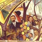 Diego Rivera y Rina Lazo, durante la terminación del mural en el Hotel del Prado , 1947 INBA Archivo fotográfico CENIDIAP