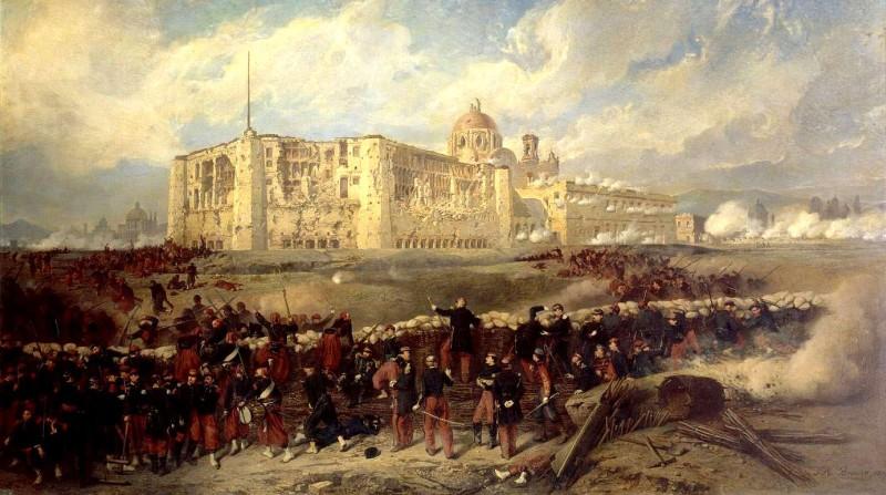 Jean-Adolphe Beaucé, El General Bazaine ataca el fuerte de San Javier durante el sitio de Puebla, 29 de Marzo de 1863, óleo sobre tela, 1867, copia en el Museo Nacional de las Intervenciones. Secretaría de Cultura-INAH-Méx. Reproducción autorizada por el INAH.