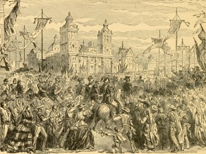 Entry of the french into the city of Mexico, litografía en Henry Davenport, Grandest Century in the world's History, Estados Unidos, National Publishing Co., 1900.