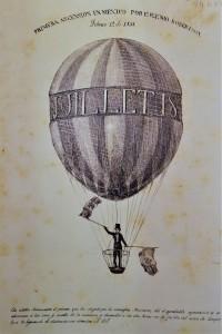 Primera ascensión en México por Eugenio Robertson, febrero 12 de 1835, litografía en La Lima de Vulcano, 1835.