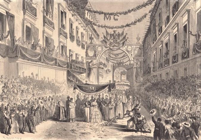 Entrada a la ciudad de México, el 12 de junio, de sus majestades el emperador Maximiliano y la emperatriz, litografía en Le Monde Illustré, 30 de julio de 1864, p. 72. Biblioteca Nacional de Francia, Gallica.