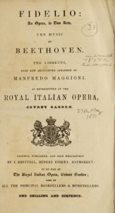 L. Van Beethoven, Fidelio: An opera, in two acts, the music by Beethoven, Londres, T. Brettell, 1851. Harold B. Lee Library