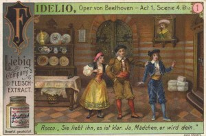 Liebig Company's, Fidelio, Oper von Beethoven–Act 1, Scene 4, núm. 1, estampa publicitaria, 1902. Wikimedia Commons , The York Project: Liebig's Sammelbilder