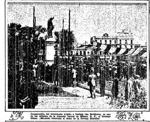 Inauguración del monumento erigido a Ludwing van Beethoven, en uno de los costados de la Alameda central de México, litografía en El Informador  27 de marzo de 1927, p. 1.